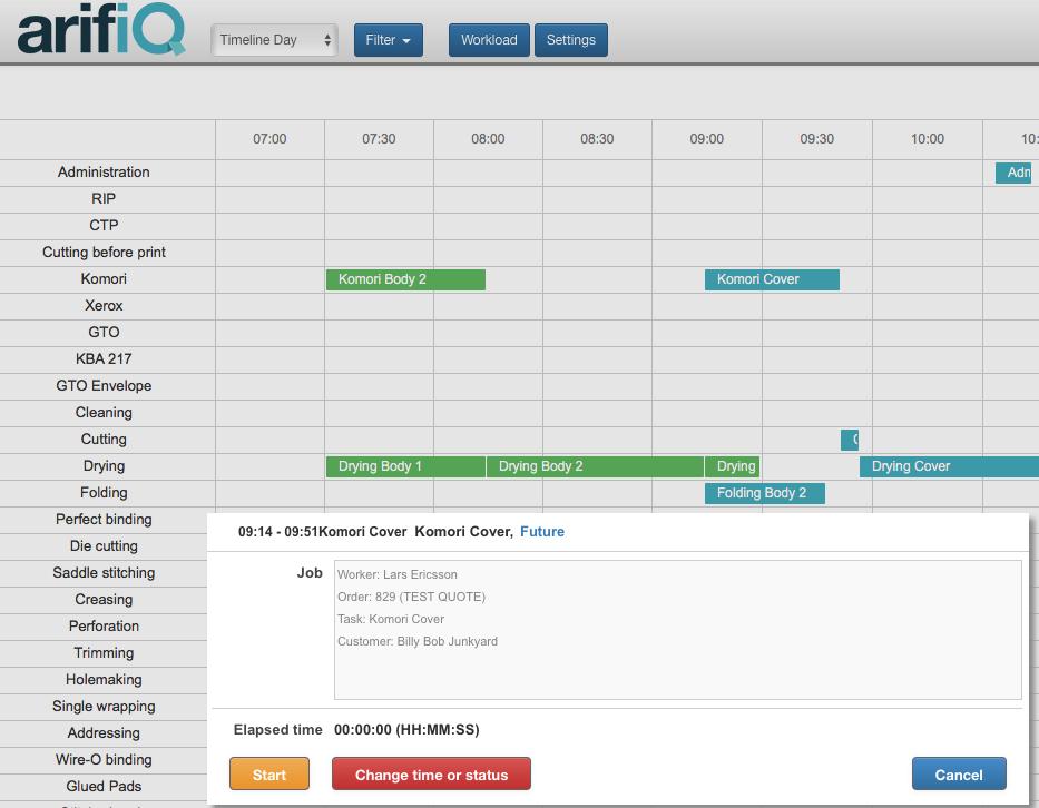 Screen shot of scheduling in arifiQ